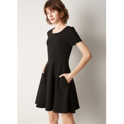 A Line Short Black Party Dress Crew Neck Zipper Back Short Sleeves Prom Dress With Pockets