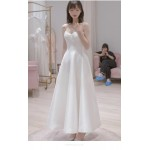 Elegant Floor-length White Satin Evening Dress Spaghetti Straps Lace-up Prom Dress With Pockets