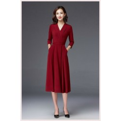A Line Medium Length Red Evening Dress V Neck Half Sleeves Prom Dress With Pockets