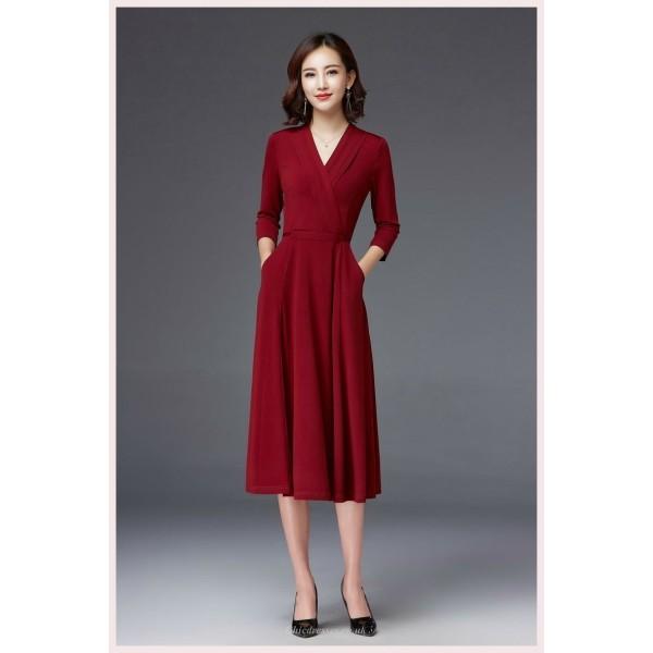 A-line Medium-length Red Evening Dress V-neck Half Sleeves Prom Dress With Pockets New Arrival