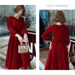 Fashion Medium-length Red Velvet With Pockets Zipper Back Lapel Long Sleeves Prom Dress New Arrival