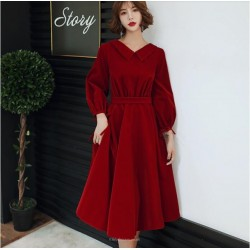 Fashion Medium Length Red Velvet With Pockets Zipper Back Lapel Long Sleeves Prom Dress