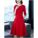 A-line Knee-length Red Crew-neck Zipper Back Half Sleeves Prom Dress With Pockets New Arrival