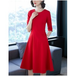 A- Line Knee Length Red Crew Neck Zipper Back Half Sleeves Prom Dress With Pockets