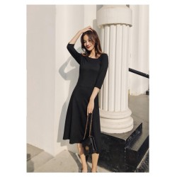 Fashion Medium Length Black Knitting Irregular Slant Collar Invisible Zipper On The Right Half Sleeves Prom Dress With Pocktes