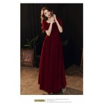 Fashion Floor-length Red Satin Stand Collar Zipper Back Short Sleeves Prom Dress With Pochets/Sequines New Arrival