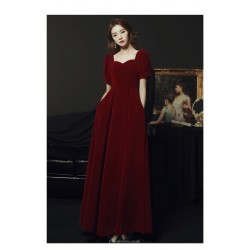 Fashion Floor-length Red Satin Stand Collar Zipper Back Short Sleeves Prom Dress With Pochets/Sequines