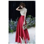 Fashion Floor-length Red Satin Stand Collar Zipper Back Short Sleeves Prom Dress With Pockets/Sequines New Arrival