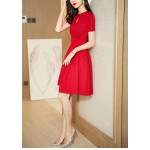 A-line Knee-length Red Party Dress Crew-neck Zipper Back Short Sleeves Prom Dress With Pocktes/Sashes New Arrival