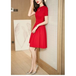 A-line Knee-length Red Party Dress Crew-neck Zipper Back Short Sleeves Prom Dress With Pocktes/Sashes