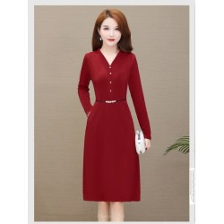 A-line Medium-length Red Evening Dress V-neck Long Sleeves Front single breasted Prom Dress With Pockets
