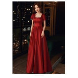 Noble Temperament Floor Length Red Satin Square Neck Lace Up Prom Dress With Pockets Sequines