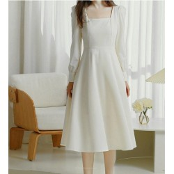 Elegant Medium Length White Satin Square Neck Long Sleeves Prom Dress With Pockets
