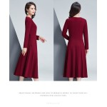 A-line Medium-length Red Crew-neck Zipper Back Long Sleeves Prom Dress With Pocktets New Arrival