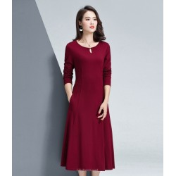 A- Line Medium Length Red Crew Neck Zipper Back Long Sleeves Prom Dress With Pockets