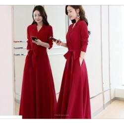 Fashion Medium-length Red Long Sleeves Lapel V-neck Prom Dress With Pockets/Sashes