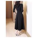 A-line Medium-length Black V-neck Half Sleeves Zipper Back Prom Dress With Pocktes New Arrival