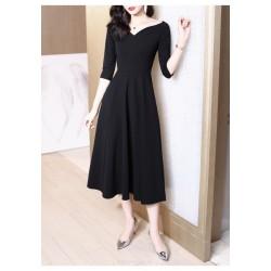 A-line Medium-length Black V-neck Half Sleeves Zipper Back Prom Dress With Pocktes