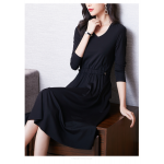 A-line Knee-length Black Chiffon Long Sleeves Prom Dress With Pockets V-neck New Arrival
