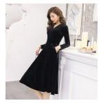 Noble Temperament Medium-length Black Velvet Long Sleeves Prom Dress With Pockets V-neck New Arrival