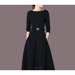 Fashion Medium-length Black Crew-neck Zipper Back Half Sleeves Prom Dress With Pockets