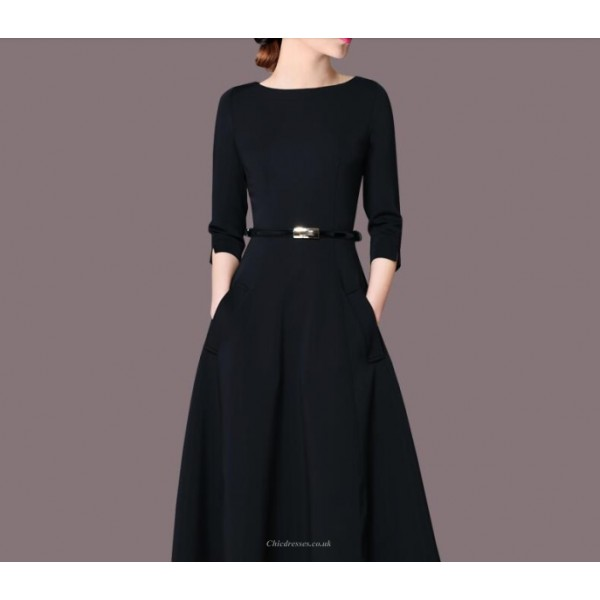 Fashion Medium-length Black Crew-neck Zipper Back Half Sleeves Prom Dress With Pockets New Arrival