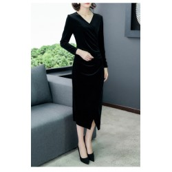 High-end Medium-length V-neck  Black Velvet Long Sleeves Prom Dress With Slits