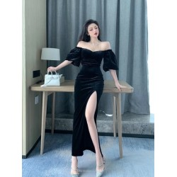 Fashion Meid-length Black Velvet Evening Dress Off The Shoulder Pagoda Sleeves Prom Dress With Slits
