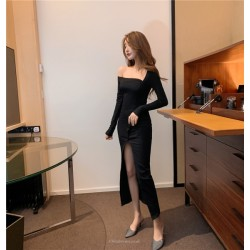 Fashion Oblique Shoulder Long Sleeves Meid-length Black Prom Dress With Slits