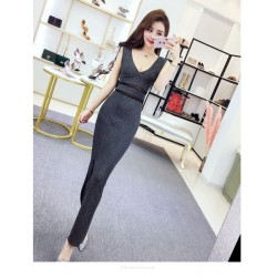 Fashion Sexy Floor-length Grey V-neck Zipper Back Prom Dress With Slits