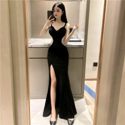 Fashion Sexy Floor-length Black Chiffon Evening Dress low-cut V-neck Prom Dress With Slits