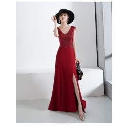 Fashion Sweep/Brush Train Red Chiffon Evening Dress V-neck Invisible Zipper Back Prom Dress With Slits/Sequines
