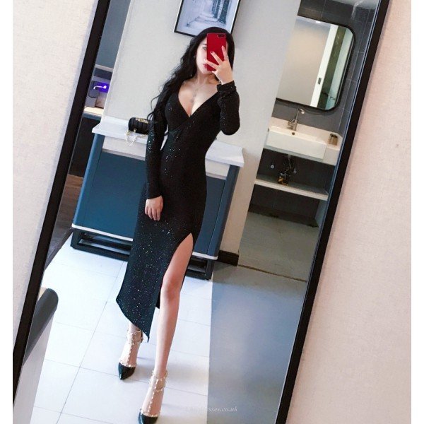 Glamorous Medium and length Black Evening Dress Long Sleeves V-neck Prom Dress With Slits/Sequines New Arrival