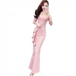 Glamorous Floor-length Mermaid/Trumpet Pink Evening Dress V-neck Long Sleeves Prom Dress With Slits