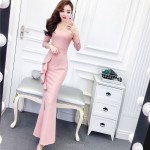Glamorous Floor-length Mermaid/Trumpet Pink Evening Dress V-neck Long Sleeves Prom Dress With Slits New Arrival