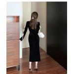 Noble Temperament Medium and Length Black Velvet Evening Dress Crew-neck Zipper Back Long Sleeves Prom Dress With Slits New Arrival
