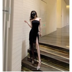 Fashion Sexy Black Lace Evening Dress Spraless Zipper Back Prom Dress With Slits