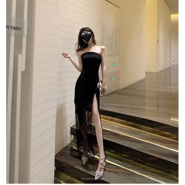 Fashion Sexy Black Lace Evening Dress Spraless Zipper Back Prom Dress With Slits New Arrival