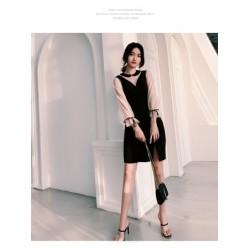Sexy Short/Mini Sheath/Column Black Party Dress Lace Long Sleeves Zipper Back Prom Dress With Slits