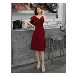 Fashion Knee-length Red Party Dress V-neck Zipper Back One Shoulder Prom Dress With Slits