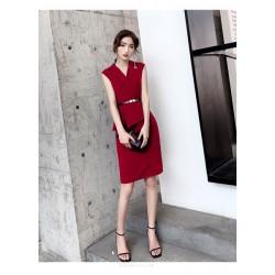 Short/Mini Sheath/Column Red Party Dress Lapet of Suit Zipper Back Prom Dress With Slit