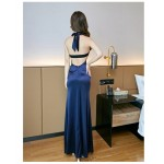 Sexy Floor-length Blue Satin Evening Dress Hanging neck and low chest Backless Prom Dress With Slits New Arrival