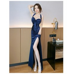 Sexy Floor-length Blue Satin Evening Dress Hanging neck and low chest Backless Prom Dress With Slits
