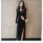Noble Temperament Floor-length Black Velvet Evening Dress V-neck Long Sleeves Prom Slits New Arrival