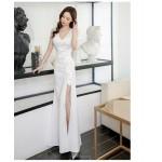 Elegant Floor-length Sheath/Column White Evening Dress V-neck Zipper Back Prom Dress With Slits New Arrival