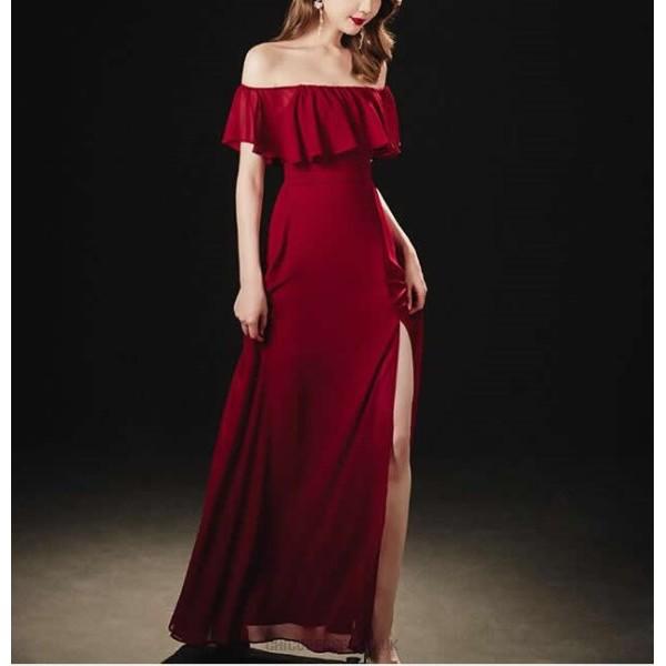Fashion A-line Floor Length Red Chiffon Off The Shoulder Slit Prom Dress Ruffles Zipper Back New Arrival