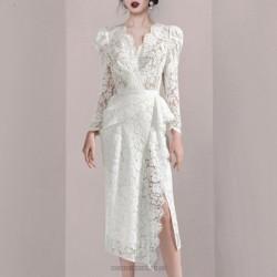 Elegant Sheath Column V Neck White Lace Long Sleeve Prom Dress With Slits
