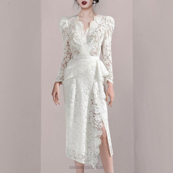 Elegant Sheath Column V Neck White Lace Long Sleeve Prom Dress With Slits New Arrival