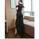 Sexy High Low Black Sparkly Prom Dress With Slit Illusion Neck Zipper Back Fashion Shoulder New Arrival