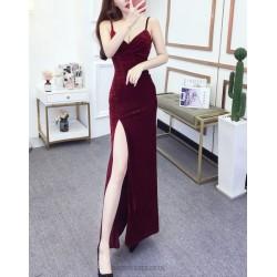 Sexy Sheath Column Floor Length Red Prom Dress With Slit Spaghetti Straps Zipper up